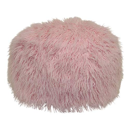 Brentwood Originals Mongolian Fur Pouf Pillow, 20x12 Rd, Soft Pink