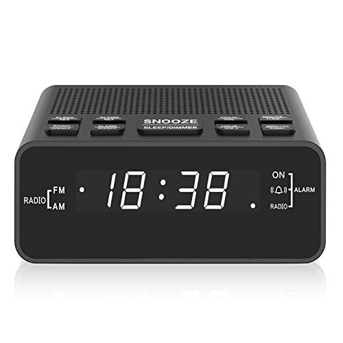 Radiowecker, AM/FM Digitaler Wecker Radio mit LED Display, Sleep Timer, Dimmer, Snooze Battery Backup für Schlafzimmer,Bedside,Desk,Shelf
