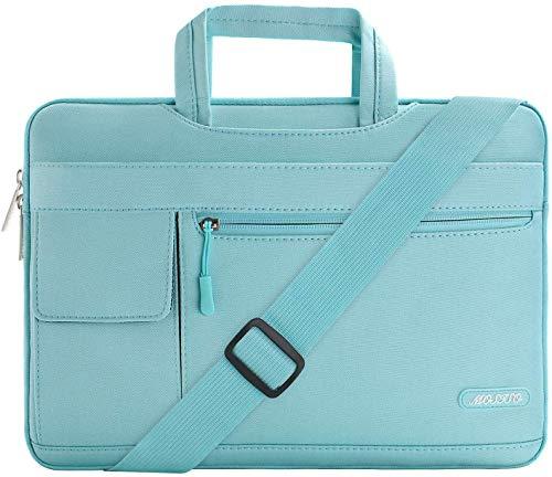 MOSISO Funda Protectora Compatible con 13-13.3 Pulgadas MacBook Pro MacBook Air Ordenador Portátil, Bolsa de Hombro Blanda Maletín Bandolera de Estilo Flap, Menta Azul