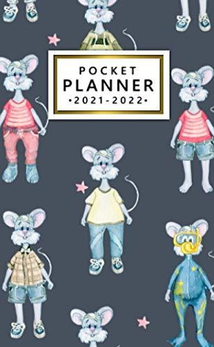 Pocket Planner 2021-2022: Two-Year 24 Month Pocket Calendar Organizer Agenda with Vision Boards and Motivational Quotes - Funky Fluffy Mouse