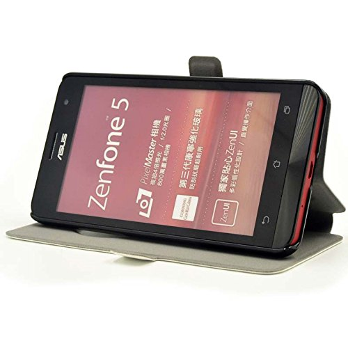 『【ECMAX】 ホワイト ASUS ZenFone 5 A500KL ケース カバー 手帳型 PUレザー素材 自動スリープ スタンド機能付き ECMAX正規代理品』の2枚目の画像