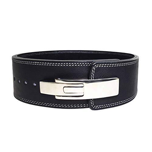 AALYANZ Lever Belt Made of Cow MILD Leather 13MM Belt for Men & Women Lower Back Support for Weightlifting (Black, Medium)