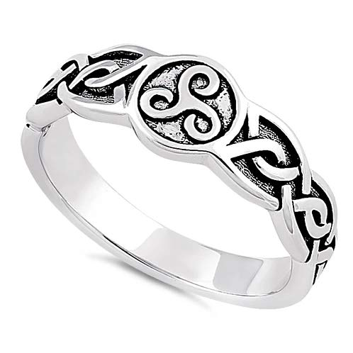 Sterling Silver Celtic Triskelion Ring Real 925 Sterling Silver Promise Love Women Wedding Gift Ring Sizes 4-12 (10)