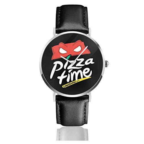 Unisex Business Casual Teenage Mutant Ninja Turtles Pizza Hut Logo Uhren Quarz Leder Uhr mit schwarzem Lederband für Männer Frauen Young Collection Geschenk