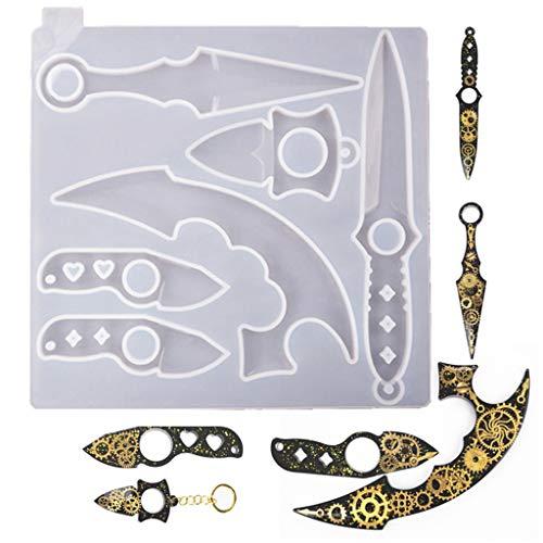 QIANGU Molde de Silicona, Armas de Lobo, Molde de Daga de autodefensa, Molde de Espada de Silicona, Molde de Hacha, Colgante de Pluma, joyería