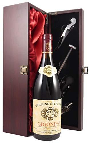 Gigondas Domaine Du Cayron Michel Faraud 1986 75cl einer mit Seide ausgestatetten Geschenkbox. Da zu vier Wein Zubehör, Korkenzieher,Giesser,Kapselabschneider,Weinthermometer