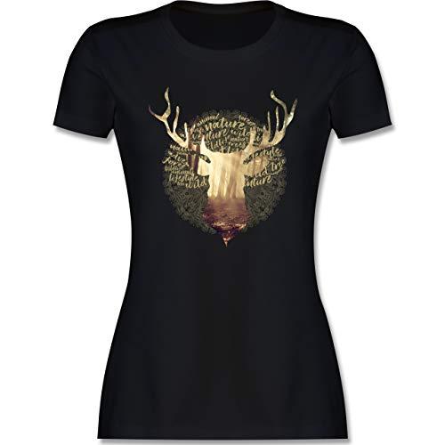 Oktoberfest Damen - Hirsch - XXL - Schwarz - Tshirt Damen Totenkopf - L191 - Tailliertes Tshirt für Damen und Frauen T-Shirt