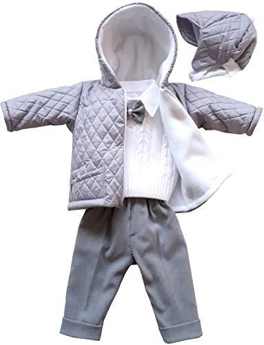 deine-Brautmode Taufanzug Festanzug Jacke Steppjacke Mütze Hose Hemd Weste Fliege Taufe Baby Anzug grau, Michael hellgrau-grau 74