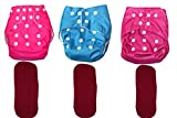 Bottom Genius Reusable Pocket Cloth Diapers for Babies Set of 3 with 3