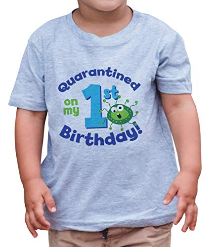 7 ate 9 Apparel Quarantined On My 1st Birthday Grey T-Shirt 2T