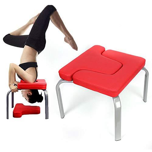 Panca per La Posizione sulla Testa Yoga Sedia Inversione Yoga, Sgabello Capovolto con Cuscino Spesso Panca per Esercizi Sportivi al Coperto Attrezzatura per Il Fitness Ausili per Yoga Sedia (Rosso)