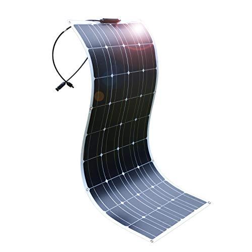 DOKIO Pannello Solare Fotovoltaico Monocristallino 100W 12V FLESSIBILE PORTATILE per Giardino Camper Roulotte Tetto RV Barca Auto Rimorchio Cabina