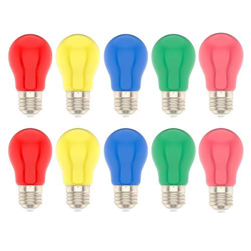 10er 1.5 Watt LED Farbige Glühbirne E27 Mehrfarbige Glühlampe für Hochzeit Halloween Weihnachten Party Bar