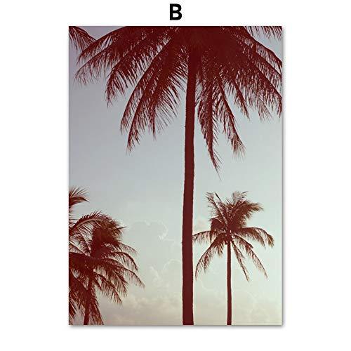 Geen frame Meisje auto palmboom strand zeegezicht muur canvas schilderij nordic poster en prints woonkamer slaapkamer decoratieve muur pi60x90cm