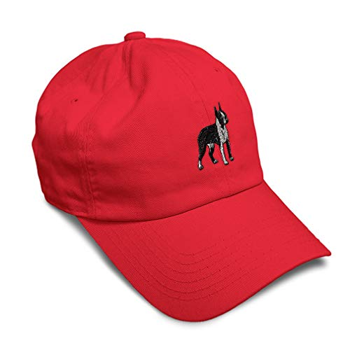 Soft Baseball Cap Boston Terrier Dog A Embroidery Pets Twill Cotton Dad Hats for Men & Women Buckle Closure Red Design Only