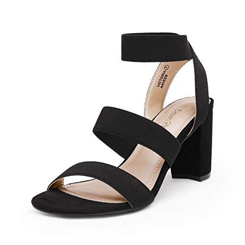 DREAM PAIRS Women's Black Open Toe High Chunky Elastic Strap Dress Heel Sandals Size 7.5 US Victoria