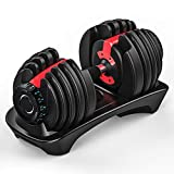 Single FDT Adjustable Dumbbell, Black and Red, Professional Comprehensive Training Equipment for Home Gym, Non-Slip Handle, Premium Silicon Steel Core, Rust-Resistant, 52.5Ib for Single, Label in KG.