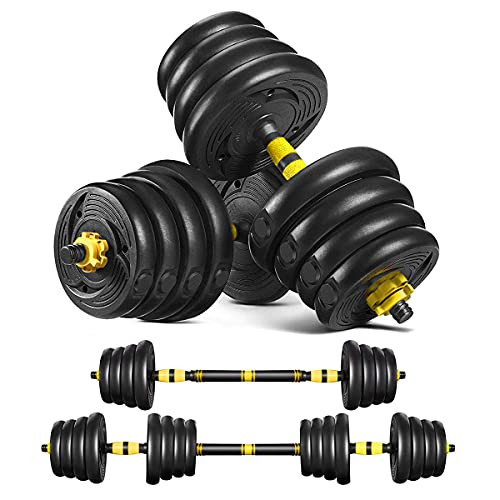Tespon Adjustable Dumbbells Set, 66lbs Free Weights Fitness Dumbbells Set with 19.7'' Long Connecting Rod Used As Barbell for Home Gym, Workout, Whole Body Training (1 Pair/Set)