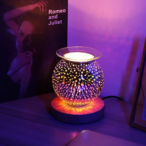Nullnet 3D Elektrische Wachsbrenner, Elektrische Ölbrenner, Elektrische Wachsschmelzbrenner mit Licht, 3D Sternenhimmel-Aromalampe mit Eichensockel für Dekoration Schlafzimmer Home Office Yoga Zimmer