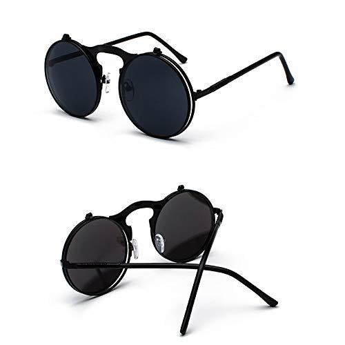 nico Gafas de Sol Sunglasses Steampunk Gafas De Sol Redondas Mujeres Hombres Metal Vintage Flip Circular Lente Doble Ga
