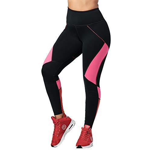 Zumba Workout High Waist Leggings Stilvoll Fitness Gym Kompression Sporthose Damen, Bold Black 7, Small
