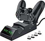 BEBONCOOL Ricarica Controller PS4 Caricatore Base di Ricarica PS4 Stazione Doppia Charger Docking Caricabatterie PS4 Joystick Base PS4 Charging Station per Playstation 4 / PS4 Slim / PS4 Pro