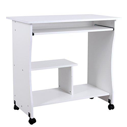 VASAGLE Scrivania per Computer, Tavolo con Ripiano Portaoggetti, Portatastiera Scorrevole, Rotelle Bloccabili, Istruzioni e Utensile per un Montaggio Facile Bianco LCD858W