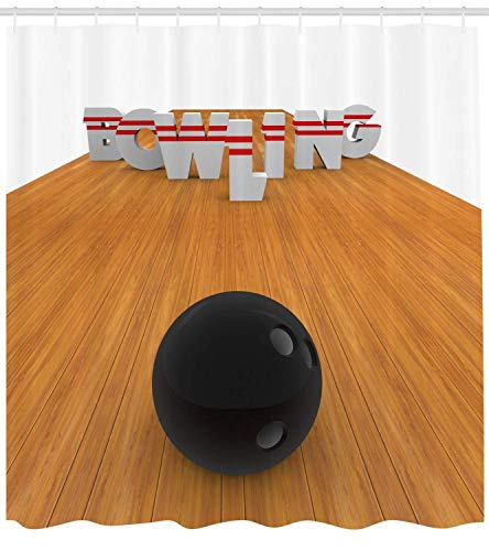 Presock Bowling Party Decorations Duschvorhang, Bowling Alley with Skittles and Ball in Position, Fabric Bathroom Decor Set with Hooks, 60 x 72Inch, Light Brown Black White