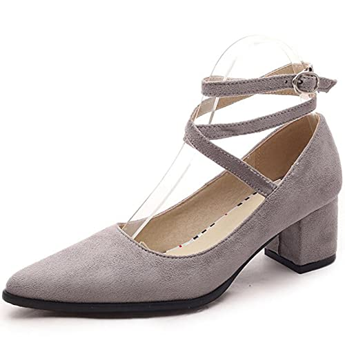 bolomee Women's Ankle Buckle Pointed Toe Mid Block Heel Pumps Wedding Dress Pump Shoes Sandals Gray US 3.5