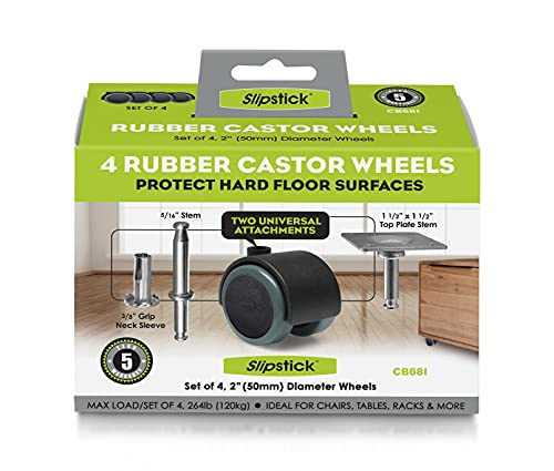 Slipstick CB681 2 Inch Floor Protector Rubber Caster Wheels (Set of 4) 5/16 Inch Stem or Top Plate...