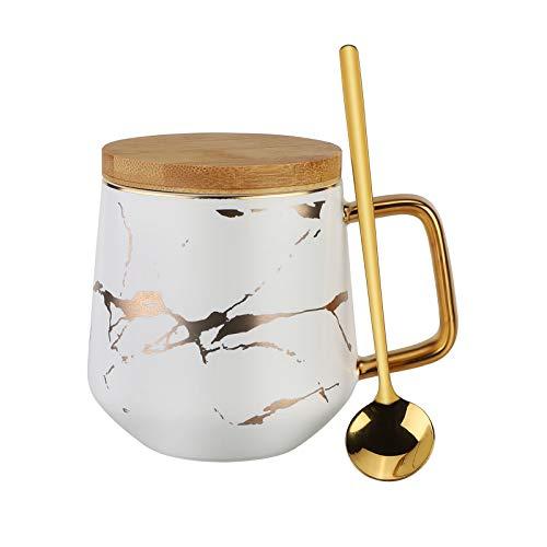 Keramik Kaffeetassen Set,Richaa Marmor Kaffeetassen Keramik Milch Teetasse mit Löffel und Hölzerne Untertasse für Frau Mutter Lehrer Geburtstag Valentinstag Muttertag Hochzeitstag (Weiß)