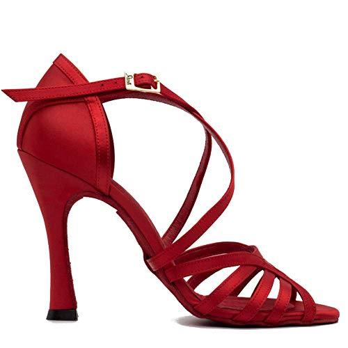 Manuel Reina - Zapatos de Baile Latino Mujer Salsa Flex 8 Red - Bailar Bachata, kizomba - Daniel y Desirée (38 EU, Tacón: 9)