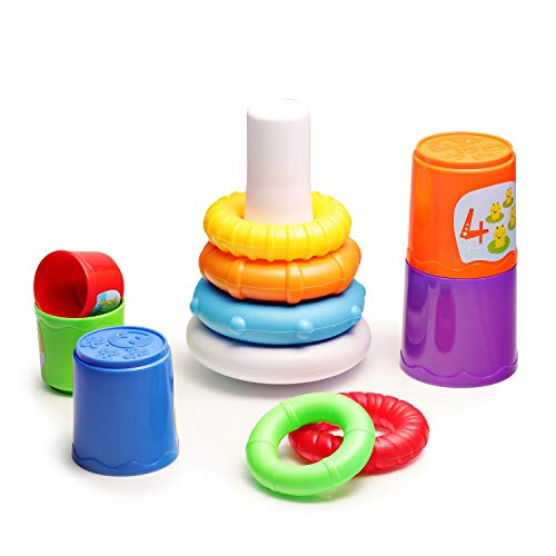infunbebe Stacking Toys 2 in 1 Stacking Cups and Stacking Ring for Toddlers, Educational Stacker Toys for Baby from 6 Months, Multicolor
