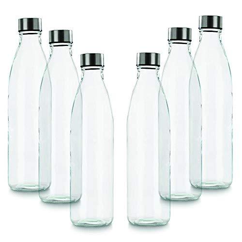 BrandPrint, Set di 6 Bottiglie in Vetro per Acqua Modello Ermes 1 Litro con Tappo a Vite in Acciaio Inox. Per Bevande e Succhi.