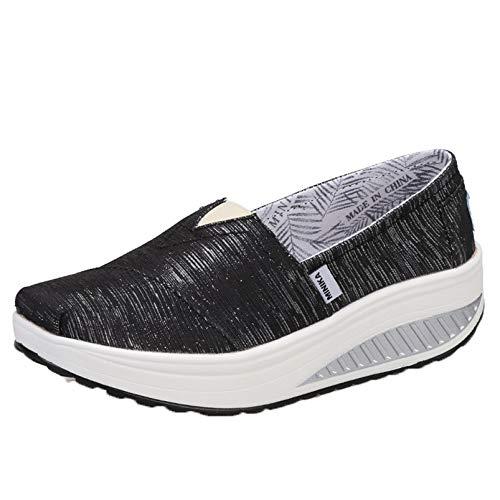 Zapatos Gruesos para Mujer, Zapatillas Suaves Antideslizantes para Exteriores, Primavera otoño, Zapatillas de Deporte duraderas para Caminar, Retro, Zapatos de Lona con cuña para Mujer