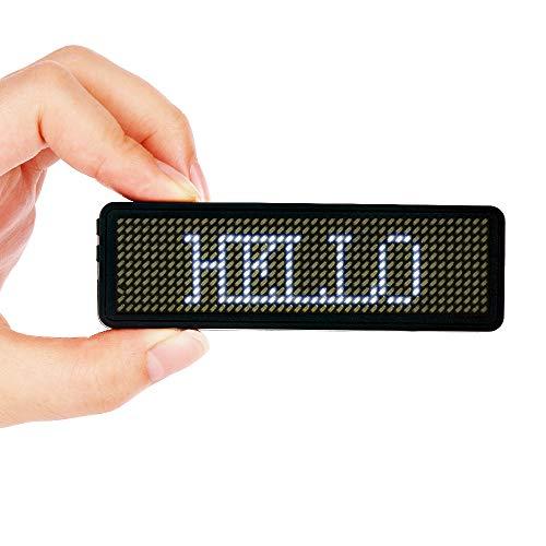 VADIV Etiqueta Nombre LED Insignia Placa Identificativa Luminosa Personalizado Programable Reutilizable y Recargable para Exposición, Restaurante, Fiesta, Bar, Cafetería, ONLY Windows 44x11- Blanco