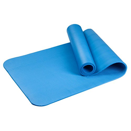 Esterilla par yoga, Lanowo, extra gruesa gran densidad resistente a la humedad ligera ejercicio espuma esterilla con rayas elástica, azul, small