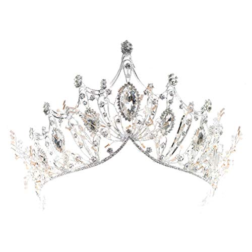 Große Kristall-Diadem, silberfarben, Tiara für Damen, für Partys oder Hochzeiten