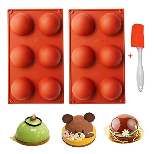 Stampo in Silicone Emisfero 6 Cavità Strumento di Cottura per Realizzare Dolci Cioccolato Praline Torte Biscotti Gelatina Mousse A Cupola budini 2 Pezz