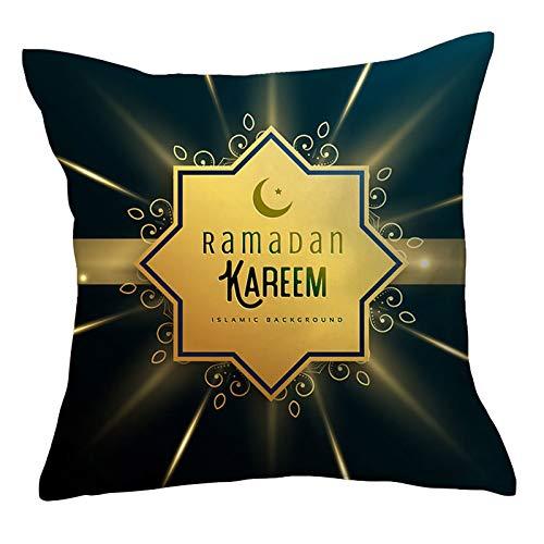 YANFANG Funda De CojíN DecoracióN RamadáN Almohada Festiva Eid Mubarak con Estrella Luna Dorada,Fundas Videojuegos Fundas Juegos Jugador para Ventilador Fiesta