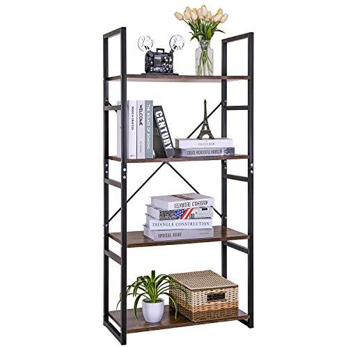 Estantería Vintage 4 Escalera ,Librería Estantería Cubo de Almacenamiento,Diseño Retro Multifuncional,para Oficina y Hogar,Color de Madera y Negro,60x28x116cm