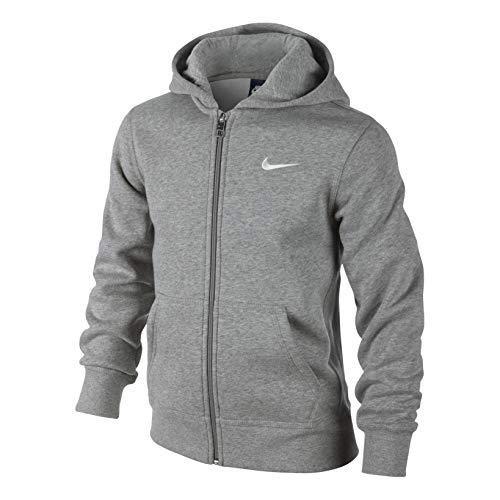 Nike 619069-010 - Sudadera con capucha para niños, color Gris (Dk Grey Heather/White), talla S (talla del fabricante: 8-10 años/128-137 cm)