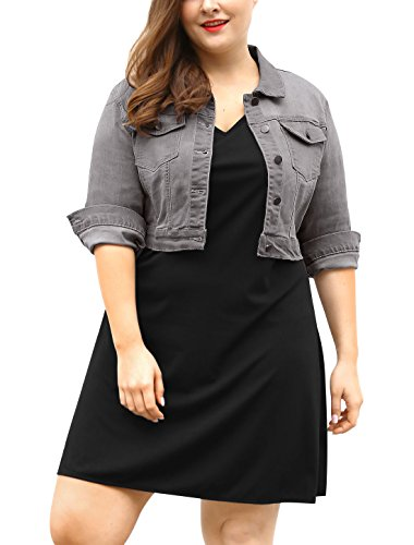 Womens Plus Size Button Closed Cropped Gray Denim Jacket