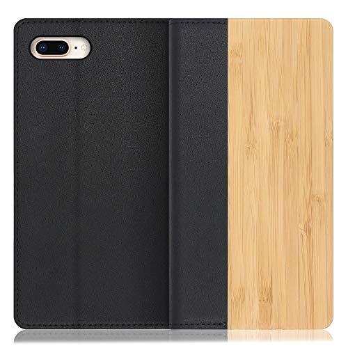 LOOF Nature iPhone 7 Plus / 8 Plus ケース 手帳型 カバー 天然木 本革 ウッド 手帳型ケース 手帳型カバー 携帯ケース 携帯カバー スマホケース スマホカバー ベルト無し 木製 スタンド機能付き カード収納 カードポケッ