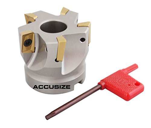 Accusize Industrial Tools 2'' by 3/4'' 90 Deg Square Shoulder Indexable Face Mill with 5 Pcs Apkt1604 Carbide Inserts, 4508-0012
