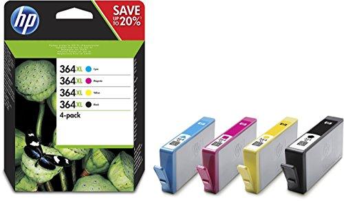 HP 364XL Multipack Original Druckerpatronen (Schwarz, Rot, Blau, Gelb) mit hoher Reichweite für HP OfficeJet, DeskJet, Photosmart