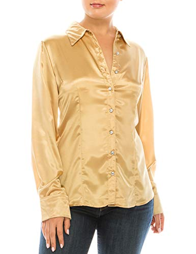 MAYSIX APPAREL Plus Size Long Sleeve Satin Button Down Collar Office Formal Shirt Blouse for Women Gold 3XL