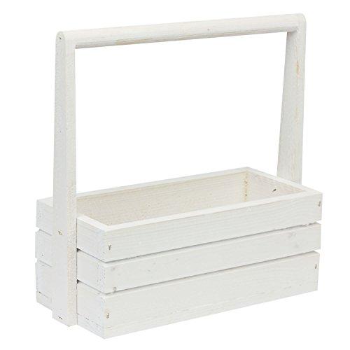 Jardinière écologique en bois - Longueur : 27 cm - Blanc