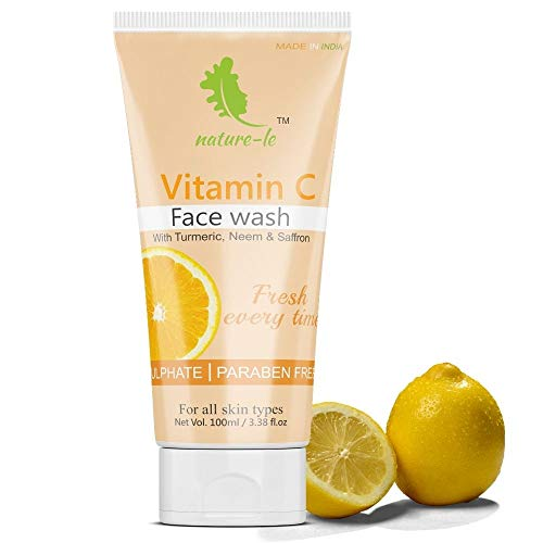 Nature-le Brightening Vitamin C Face Wash,100 ml | Turmeric, Neem & Saffron | Deep Cleanser | All skin types | Paraben & SLS Free