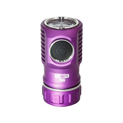 Amutorch E3S 3000 lúmenes EDC linterna, interruptor lateral mini luz con SST-20 LED, batería 20350 personalizada incluida, alto rendimiento (púrpura)